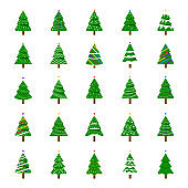 Christmas Trees in Modern Flat Style