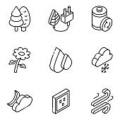 Pack of Weather and Nature Glyph Isometric Icons