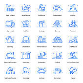 Pack Of Pollution Flat Icons
