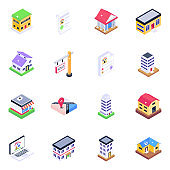 Pack of Home Architecture Isometric Icons