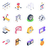 Sports and Gym Equipment Isometric Icons