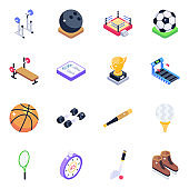Fitness Tools and Sports Accessories Isometric Icons