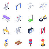Exercise Equipment Isometric Icons Pack