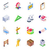 Pack of Home Equipment Isometric Icons