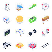Fitness Accessories Isometric Icons Pack