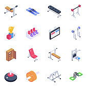 Weightlifting and Fitness Equipment Isometric Icons