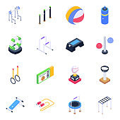 Gymnastic Equipment Isometric Icons Pack