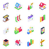 Pack of Graphs and Estate Structures Isometric Icons