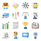 Pack of Business and Technology Flat Icons