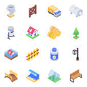 Ecology Isometric Icons Vectors Pack