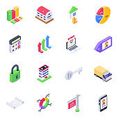 Pack of Bar Charts Isometric Icons