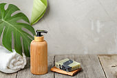 Wooden pump soap bottle and solid soap dish