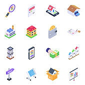 Pack of Estate Agreements Isometric Icons