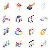 Pack of Analytics and Business Charts Isometric Icons