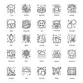 Summer Season Accessories line Icons Pack