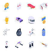 Sports Tools and Gym Equipment Isometric Icons
