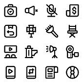 Set of Filmmaking and Media Solid Icons