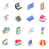 Pack of Home Accessories Isometric Icons