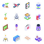 Isometric Icons of Science and Technology
