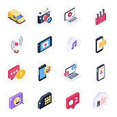 Isometric Icons of Social Media