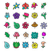Pack Of Floral Doodle Icons