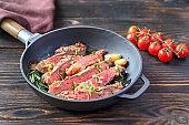 Beef steak in the frying pan