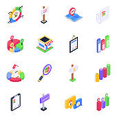 Pack of Timeline Infographics Isometric Icons