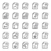 Types of Files Line Icons