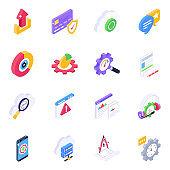 Pack of Digital Development Isometric Icons
