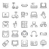 Computer Hardware and Devices Icons in Modern Linear Style Pack