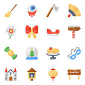 Pack of Christmas and Halloween Flat Icons