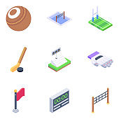 Outdoor Sports Equipment Isometric Icons