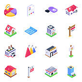 Pack of Buildings and Real Estate Isometric Icons