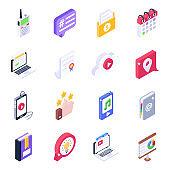 Unique Media Icons in Isometric Style