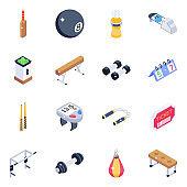 Modern Sports Elements Isometric Icons
