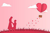 Illustration Young couple dating in Valentine day , Man kneeling to propose married to woman. Paper Heart shape balloon floating in the sky . Paper Sculpture art Style , Vector