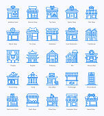 Shop Architecture Flat Icons Pack