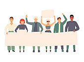 Group of young men and women standing together and holding blank banner. People taking part in parade or rally. Male and female protesters or activists. Flat cartoon colorful vector illustration