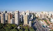 Sao Paulo city and 23 de Maio avenue. op View Of Sao Paulo city skyline, buildings and cityscape.