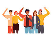 People greet gesture flat vector illustration set. People wave hello. Men, women in casual wear say hello.