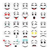 Cartoon faces. Expressive eyes and mouth, smiling, crying and surprised character face expressions. Caricature comic emotions or emoticon doodle. Vector illustration