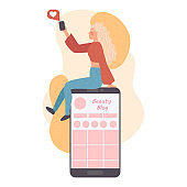 Telephone smartphone and Mobile Modern Business Product Reviews ,Blogger Review Concept. Video Streamer Blogger , Live Broadcast. Beauty blog Online Channel. Vector illustration cartoon character.