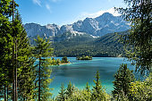 view on the beautiful zugspitze mountain and the eibsee