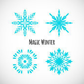 Set of blue snowflake icon with text, vector doodle design.