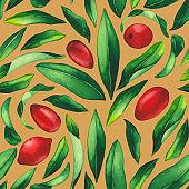 Seamless pattern of watercolor goji berries and leaves.