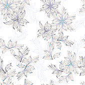 Light floral seamless pattern, beautiful contour flowers on a white background. Vector textured vintage print for fabric.