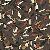 Autumn leaves on a brown background, seamless textile pattern. Vector hand drawn texture for fabric, home textiles and paper.