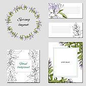 Templates for corporate identity with contour floral pattern. Natural ornament of green leaves for modern design of business cards, ads, posters, advertising.
