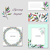 Templates for corporate identity with a multi-colored pattern of contour leaves. Test frames with fun painted ornaments.