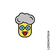 Mocking Funny Humor Eyes Closed yellow Emoticon boy, man Icon Vector Illustration. Style.